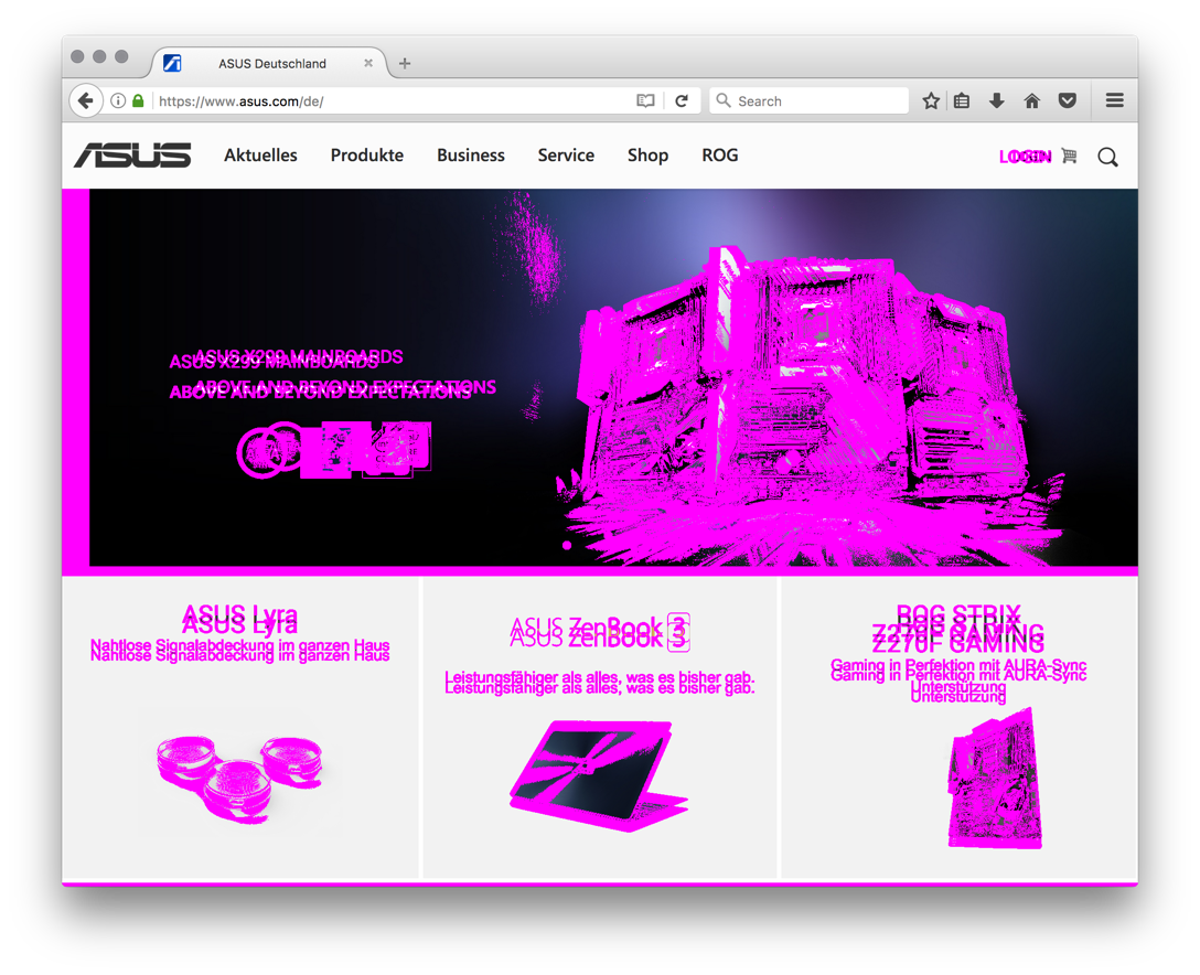 Visual diff of asus.com.