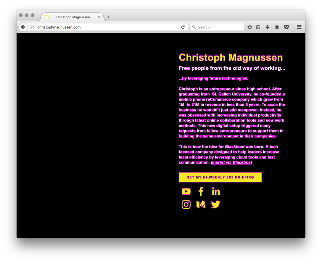 Visual diff of christophmagnussen.com.