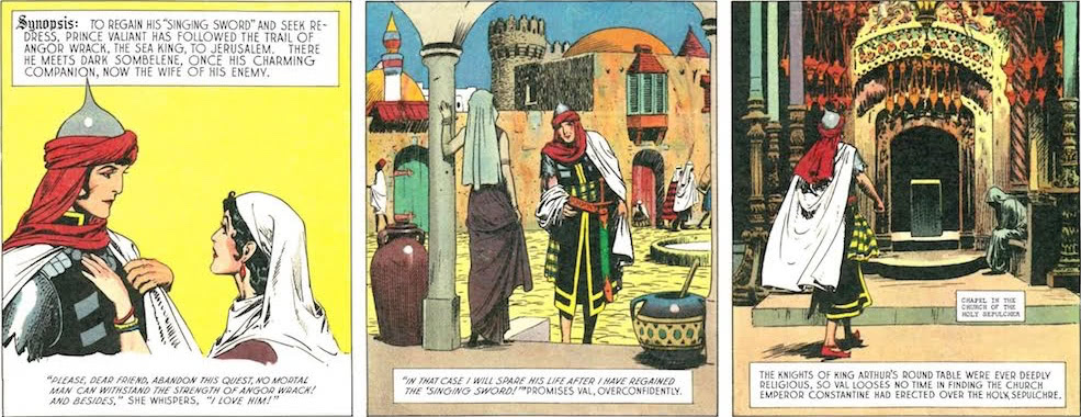 "To regain his ""Singing Sword"" and seek redress, Prince Valiant has followed the trail of Angor Wrack, the Sea King, to Jerusalem."