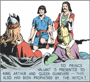 So Prince Valiant is presented to King Arthur and Queen Guinevere—this also had been prophesied by the witch!